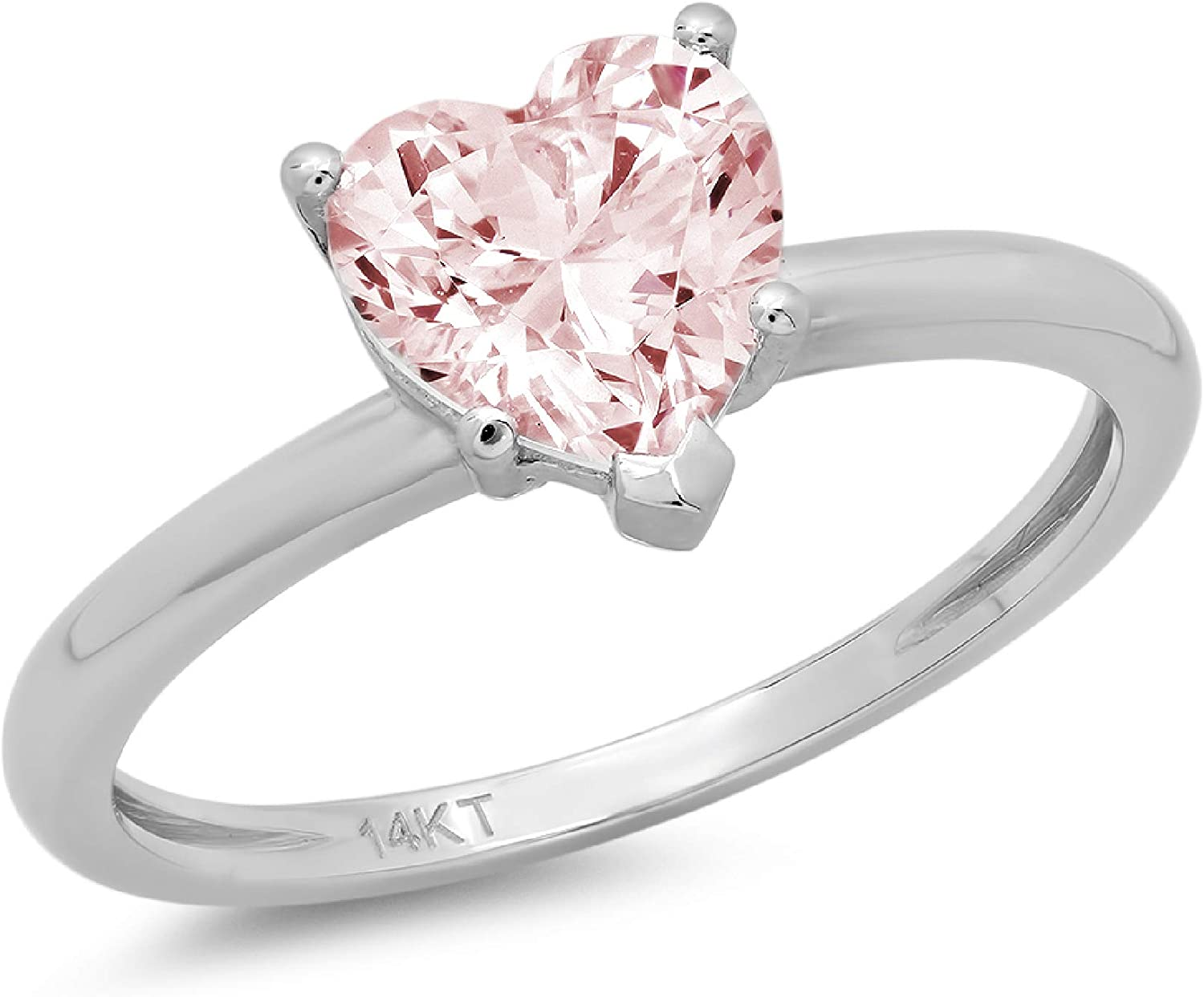 1.9ct Brilliant Heart Cut Solitaire Pink Simulated Diamond Cubic Zirconia Ideal VVS1 D 5-Prong Engagement Wedding Bridal Promise Anniversary Ring Solid 14k White Gold for Women