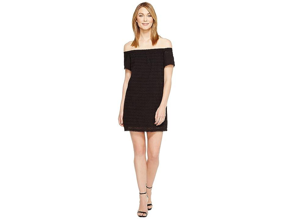 Michael Stars Eyelet Off the Shoulder Dress (Black) Women