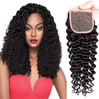 JOYFUL QUEEN 10 Inch 4x4 Brazilian Deep Wave Lace Closure Human Hair Free Part 8A Pre Plucked Lace Closure 100% Brazilian Virgin Hair Curly Lace Closure Natural Color