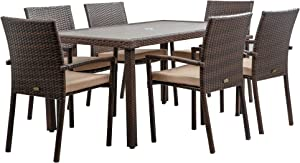 BELLEZE Cardennas 7 Pieces Patio Furniture Dining Set Outdoor Slat Table with Umbrella Cut Out & Cushioned Chair, Brown