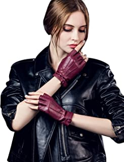 Women's Classic Sheepskin Leather Fingerless Gloves Lined Classic Soft Sheepskin 1/2 Half Finger Button Punk Motorcycle Cycling Fitness Touchscreen Warm Winter Glove, Wine Red 7.5