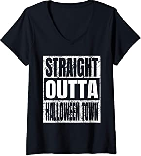 Womens Straight Outta Halloween Town Costume Gifts Ideas Vintage V-Neck T-Shirt