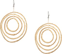 "Light Wood 4"" Graduated Circle Pierced Earrings"