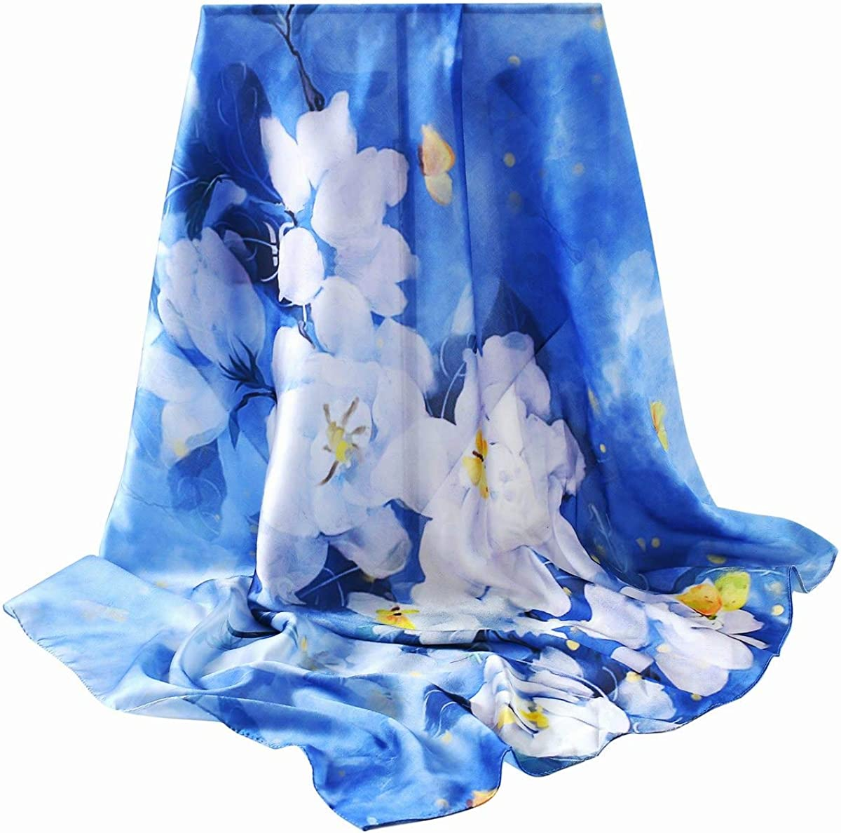 """35"""" Square or Solid Oblong Large 100% Mulberry Silk Hair Scarf Wrap With Gift Box Package"""
