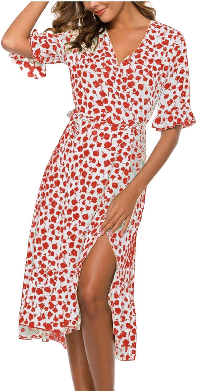 NLLSHGJ Dresses for Wedding Guest Women Summer 2021 Casual Floral Print V-Neck A-Line Short Sleeve Cocktail Dress