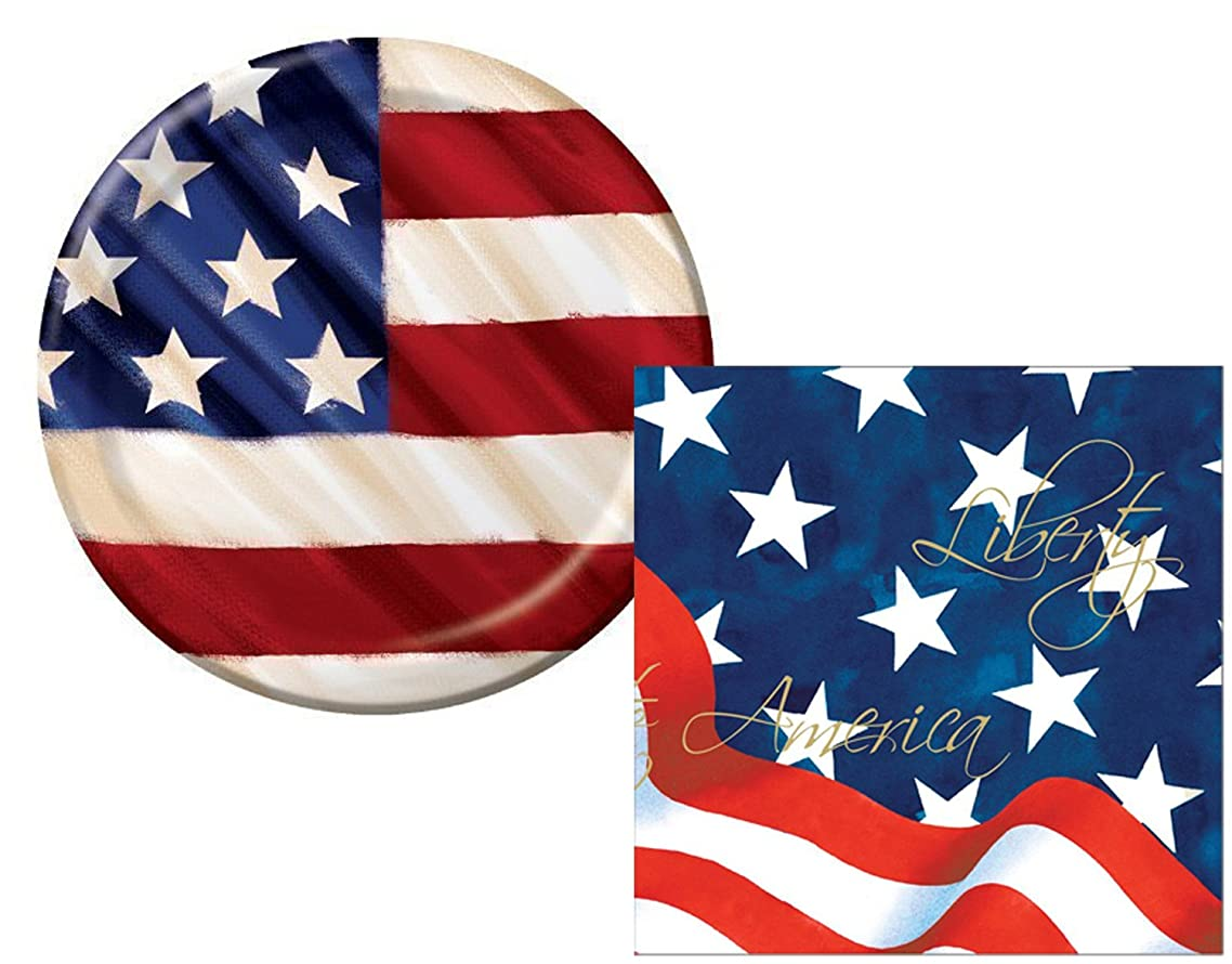 Rustic 4th Of July, Veteran's Day, Memorial Day, USA American Flag Lunch Plates & Napkins (16 Plates & 36 Napkins)
