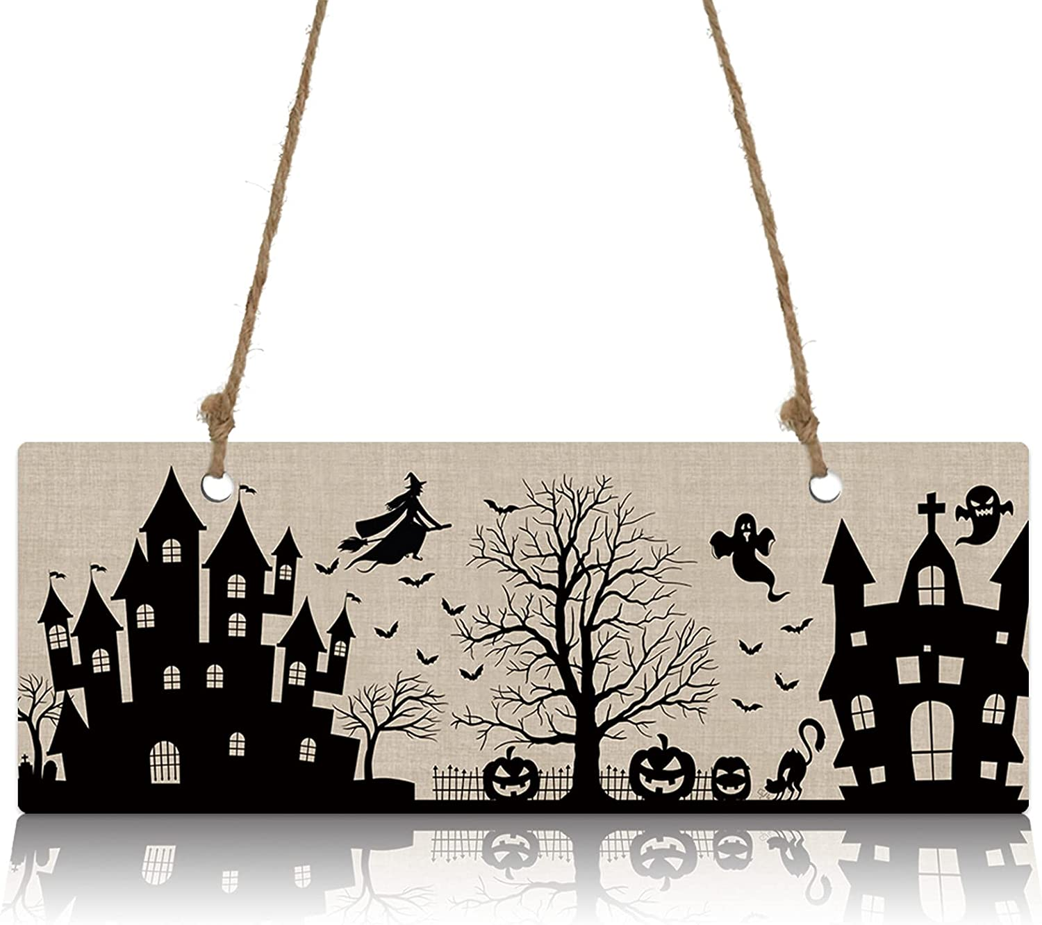 Max 53% OFF Wall Sign Wood Plaque Scary Witch Horror Ho Ranking TOP5 on with Flying Broom