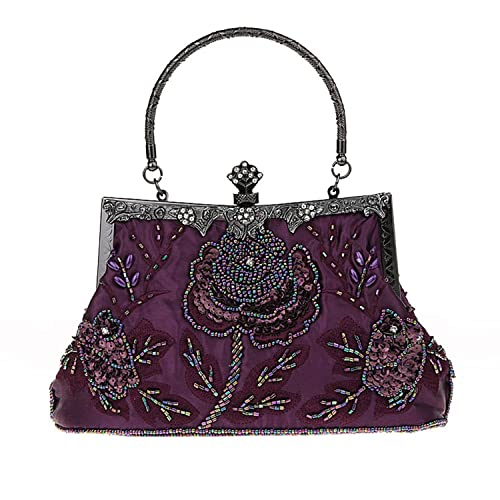 52cf8a9fa6 Vintage Handmade Seed Bead Sequined Clutch Purse Handheld Bag Wedding  Evening Party Prom Handbag Purple