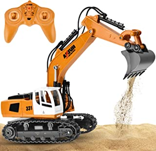 GotechoD Remote Control Excavator RC Trucks 1/18 9 Channel RC Construction Vehicle Digger Remote Control Truck Full Function RC Excavator Toy Car Boys Toys for 6-15 Years Old Kids Boys