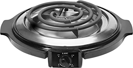 Elite Cuisine ESB-300X Single Countertop Portable Small Buffet Burner Electric Hot, Coiled Heating Plate, Temperature Control, Dorms, RV, Camping, Black