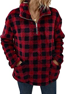 Byinns Women's Long Sleeve Zip Up Lapel Fleece Sweatshirt Plaid/Camouflage Pullover Coat with Pockets