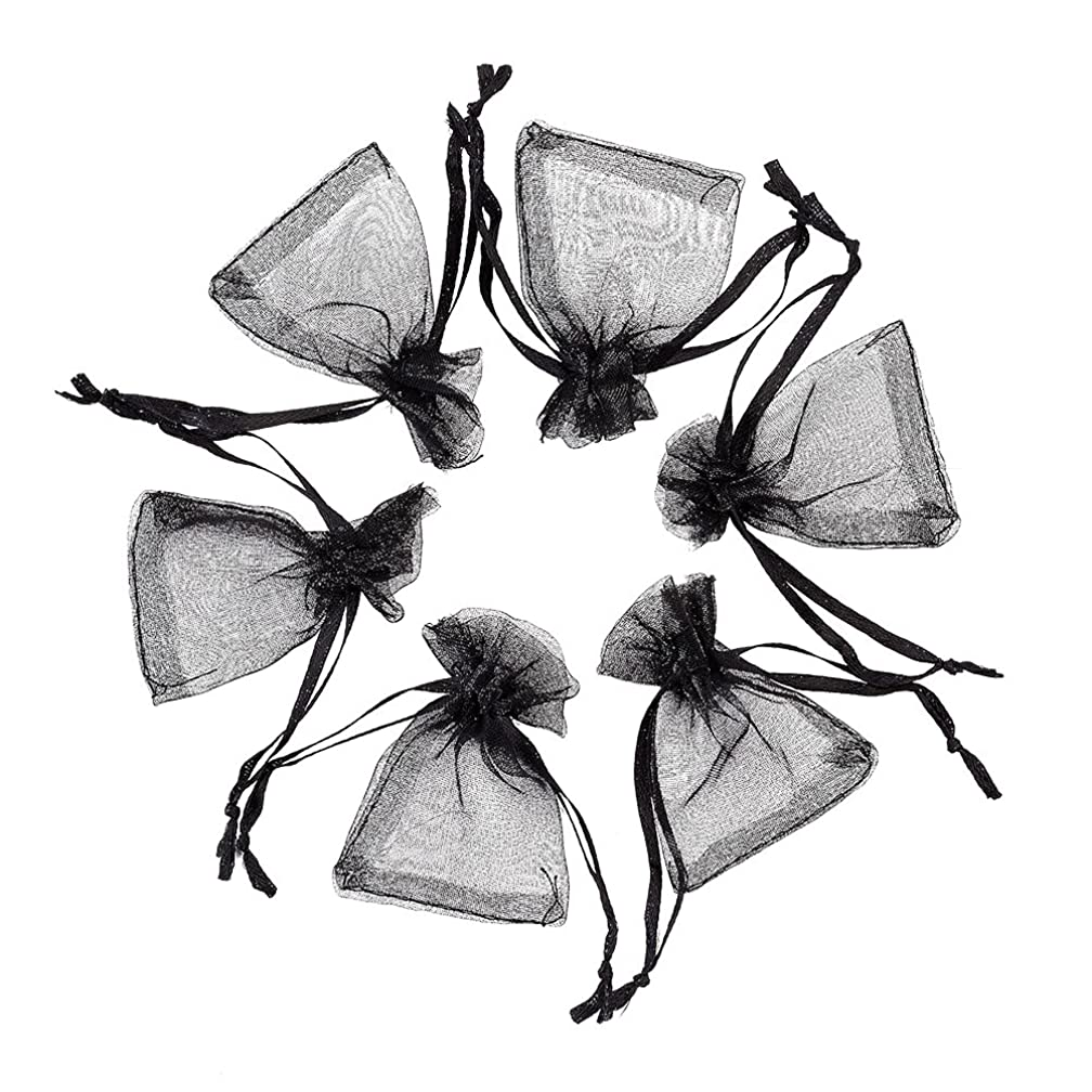 Pandahall 100pcs Black Organza Bags Mini Pouch Bags Drawstring Gift Bags Jewelry Package with Ribbons (1.96x2.75
