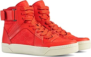 Gucci Men's Nylon Guccissima High-Top Red Sneakers 409766
