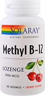 Solaray Methyl B 12 5000 Mcg, Lozenge Cherry, 60 Count
