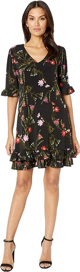 Ruffle Sleeve Enchanted Wildflower Knit Dress