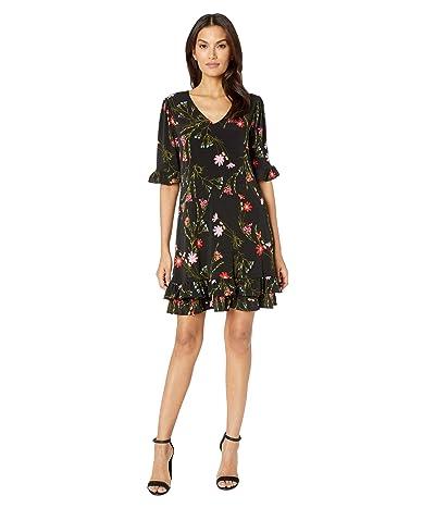 CeCe Ruffle Sleeve Enchanted Wildflower Knit Dress (Rich Black) Women