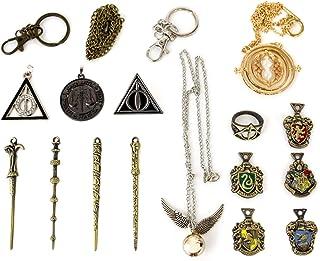 U&X El Paquete Contiene: la Caja Incluye 4 varitas mágicas, 5 Insignias Escolares, 5 Collares, 1 Anillo. 11 Harry Mini PCS...