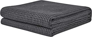 PHF Cotton Waffle Weave Bed Blanket Perfect for Bed Home Decor in Winter Twin Size Charcoal