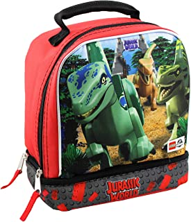 Lego Jurassic World Boys Soft Dual Compartment Insulated School Lunch Box (Black)