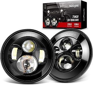 Nilight 2PCS 7 Inch Round Cree LED Headlight High Low Beam for Jeep Wrangler JK TJ JL CJ 1997-2020 Rubicon Sahara Hummber H1 H2 Motorbikes, 2 Years Warranty