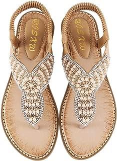 LIM&Shop Women's Bohemian Platform Sandals Rhinestone Bead Wedge Shoes Thong Sandal Bling Crystal Slip-On Bead Flip Flop