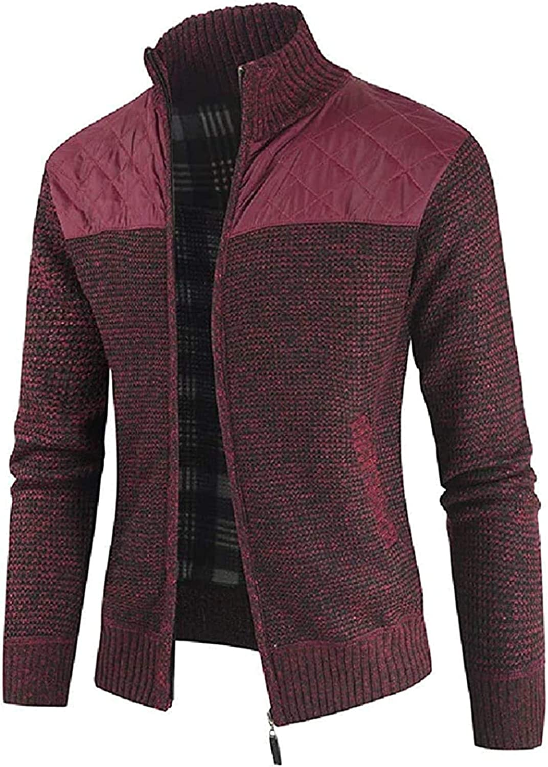 Men's Knitted Open Front Zip Front Solid Color Stand Collar Slim Cardigan