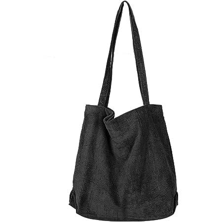 Etercycle Umhängetasche Damen Grosse Kapazität Cord Schultertasche Retro Handtasche für Alltag, Büro, Schulausflug und Einkauf - Schwarz