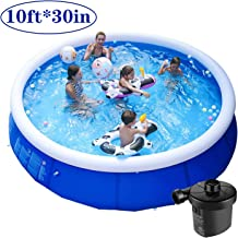 Kracie 10ft 30in Summer Family Swimming Pool Party for Kids & Adults - Quick Set Above Ground Swimming Poolwith Electric Air Pump