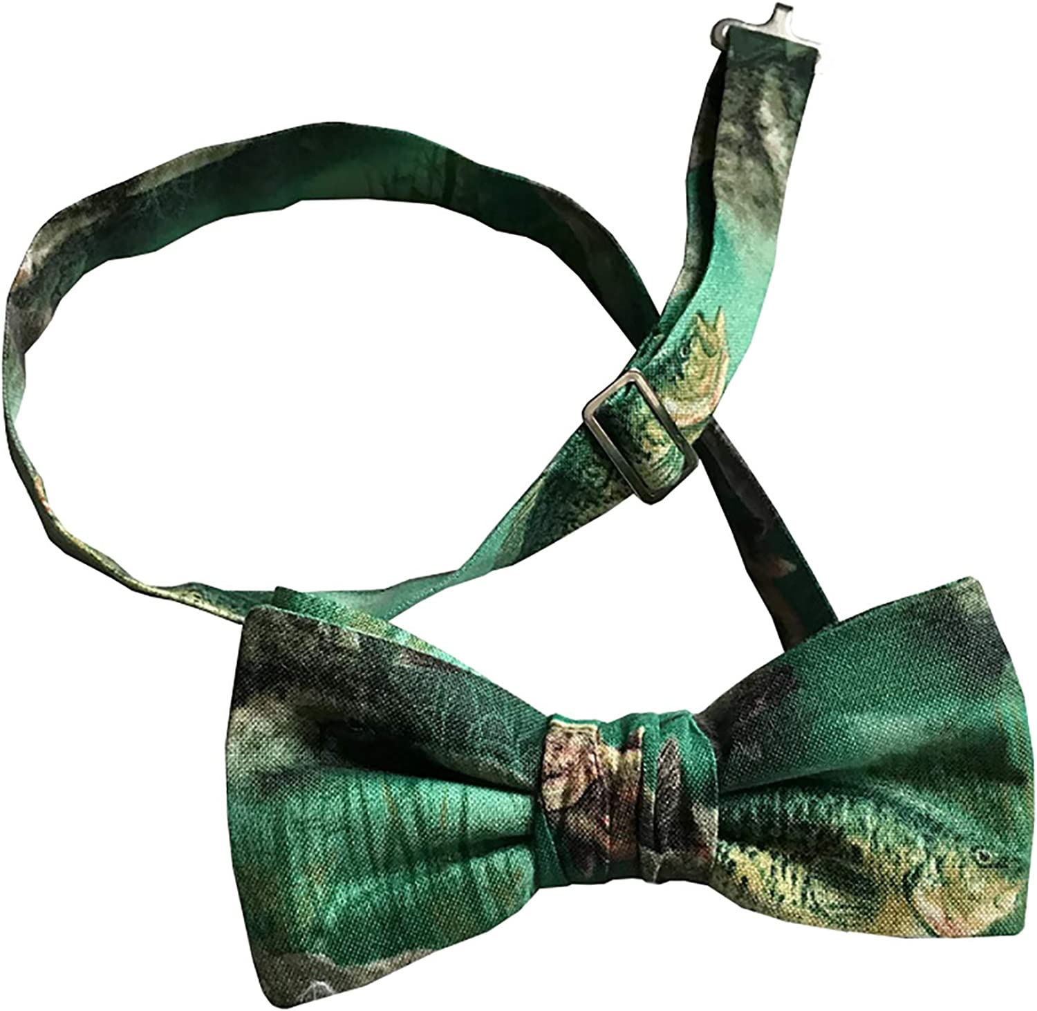 Holiday Bow Ties Mens Fishing Bow Tie Bow in Shades of Green Pre-tied