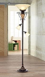 Traditional Torchiere Floor Lamp Tree Bronze Adjustable Alabaster Glass Shades Slide Dimmer for Living Room Reading - Regency Hill