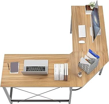 Soges l字デスク パソコンデスク ㍶デスク コーナーデスク l字型 デスク 机 ワークデスク オフィスデスク 勉強机 シンプルデスク パソコン台 在宅ワーク 省スペース 幅(90+90)奥行55×高さ75cm (ナチュラル)