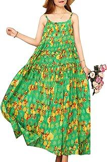YESNO Women Casual Long Maxi Bohemia Floral Dresses Swing Dress E75CAG