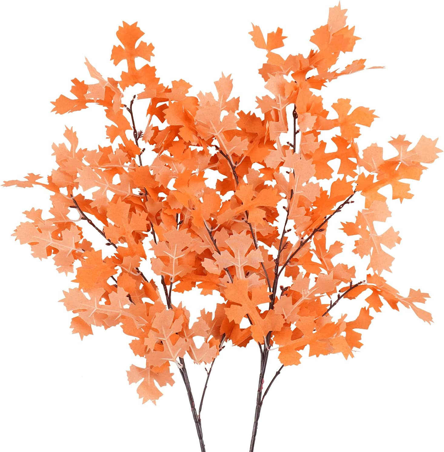 Uieke 2PCS Artificial Maple Leaves Branches Fall Leaves Stems Décor Autumn Greenery Shrubs Plants for Indoor Outdoor Home Kitchen Festival Fireplace Table Thanksgiving Centerpieces Decoration Orange