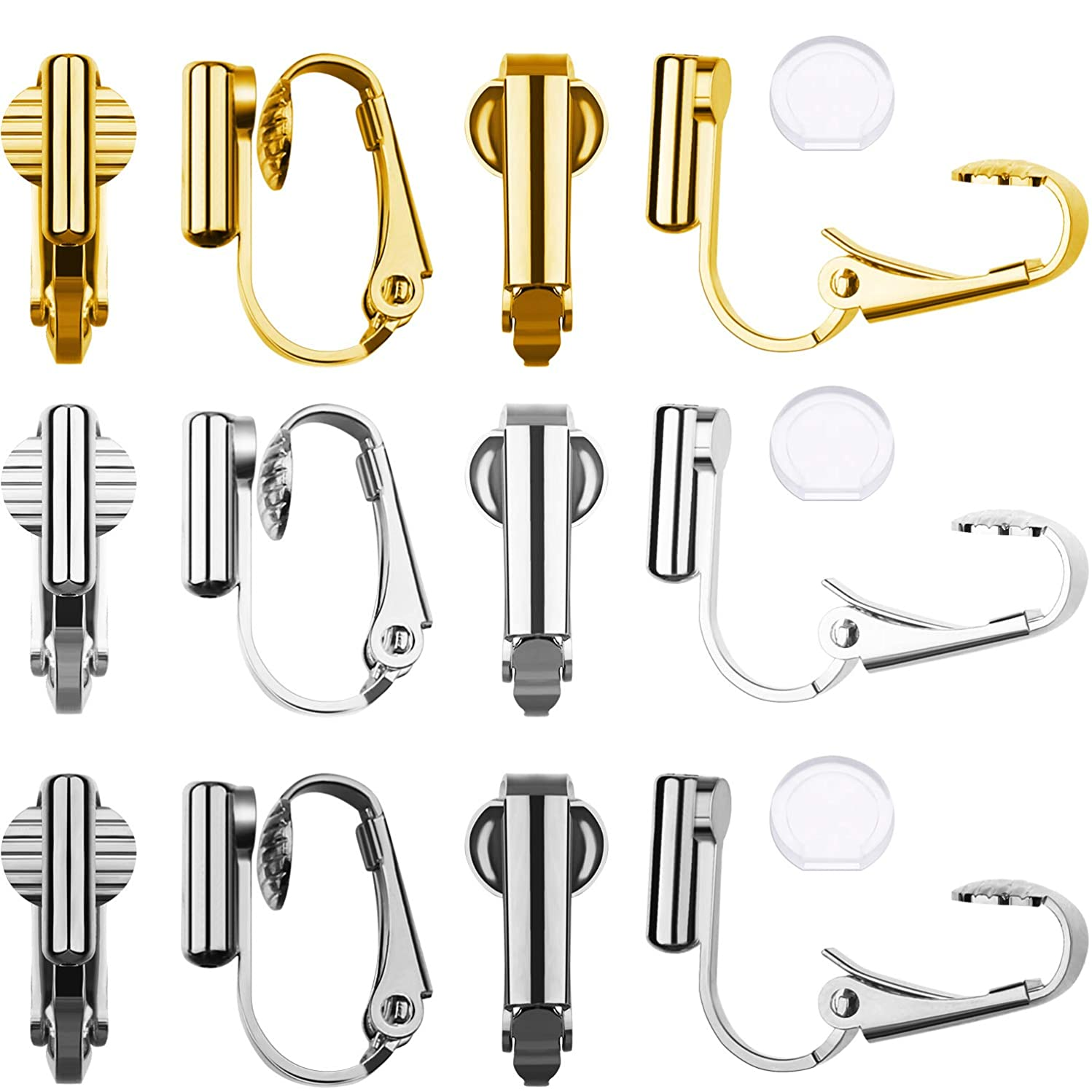 9 Pairs Clip-on Earrings Converter Components 3 Colors for Non-Pierced Ears and Comfort Earring Pads (Style A)