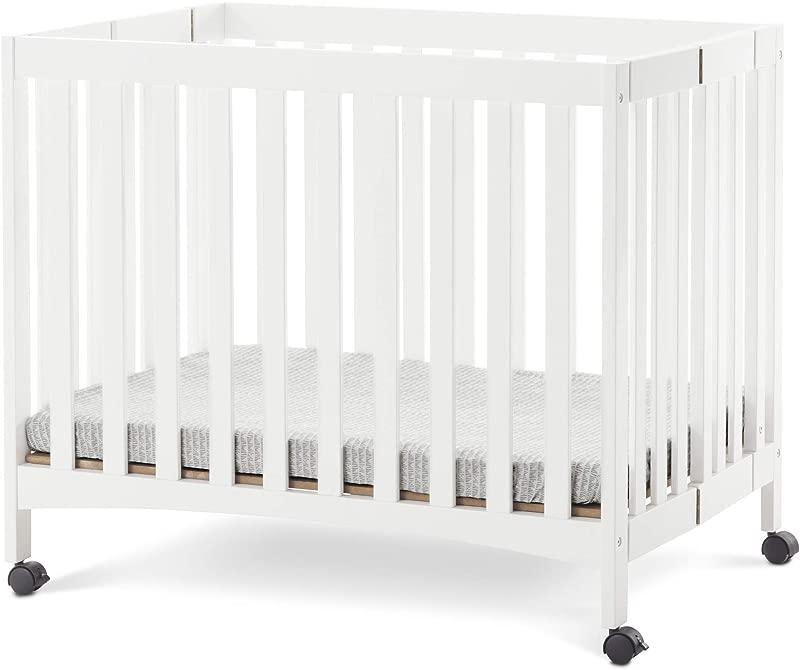 Forever Eclectic London Mini Folding Compact Crib Matte White