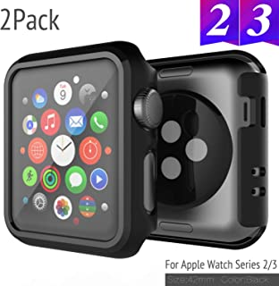 2 Pack Bumper for Apple Watch Case 42mm Series 3 /Series 2 Anti-Scratch Shockproof Ultra-Thin Hard iWatch Protector for Apple Watch Cover 42mm Series 3/2