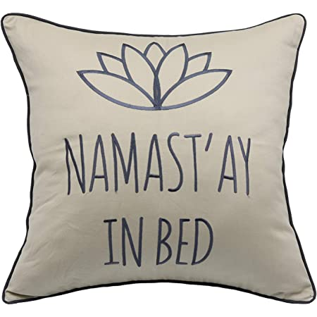 Amazon Com Yugtex Namastay In Bed Decorative Embroidered Accent Throw Pillow Cover For Bedroom 18x18 Inches Natural Home Kitchen