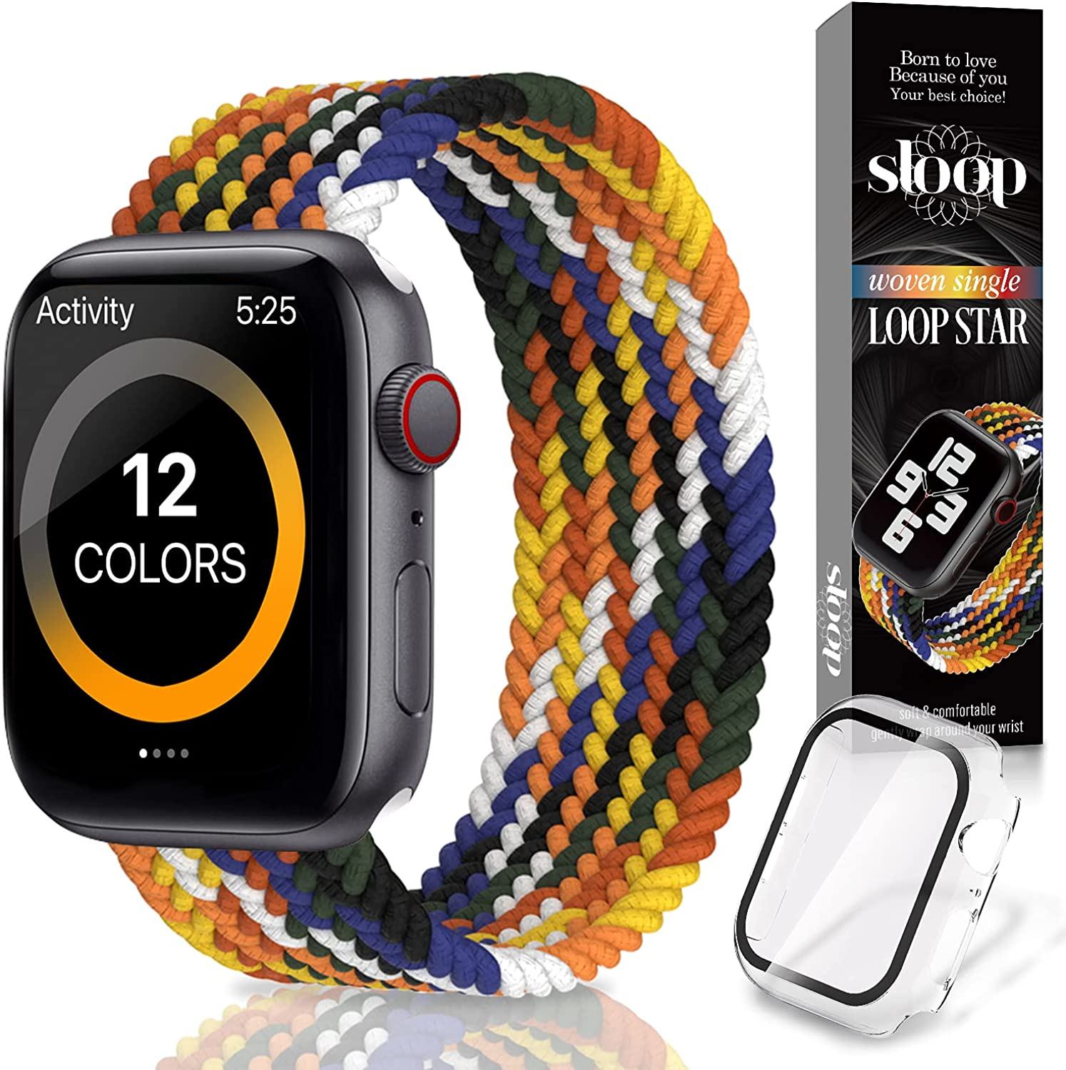 Sloop Braided Solo Loop strap, sport Band for women & man, Compatible with Apple Watch - Suitable for iWatch Series 6/5/4/3/2/1/SE Models - Durable, Suitable for Daily Use - Comfortable & Elastic Fit