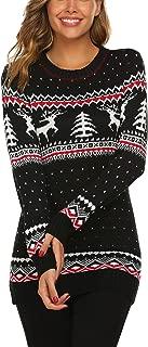 UNibelle Women's Ugly Christmas Sweater Patterns Reindeer Pullover Jumper,S-XXL