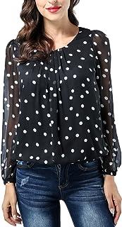 AVTOSRNO Women's Long Sleeve Scoop Neck Pleated Front Chiffon Tunic Top Blouse Shirt