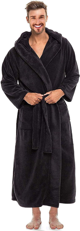 Alimens Gentle Men's service Hooded Fleece Full Deluxe Length Warm Bathrobe
