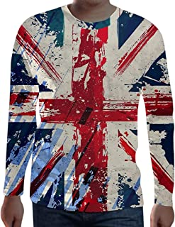 Houshelp Men's Long Sleeve T-Shirt Top 3D American Flag Print