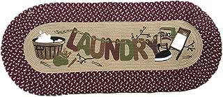 USTIDE Laundry Floor Runner Braid Handmade Rug Burgundy Vintage Rug Washable Cabinet/Washhouse/Floor Mats Oval