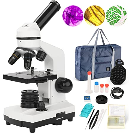 BNISE 100-1000倍単眼光学生物顕微鏡 、子供顕微鏡セット 、二重LEDを持つ実験室複合顕微鏡 、初心者の生物顕微鏡小学生 中学生 高校生や大人の学習用 マイクロスコープ