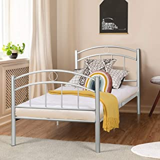 Giantex Twin Size Bed Frame, Premium Metal Bed Frame Platform, Easy Set-up Mattress Foundation, Enhanced Sturdy Slats, Box Spring Replacement w/Footboard, Vintage Style for Kids Student Bedroom