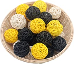 """Set of 15 Mixed Yellow Black White 2"""" Small Decorative Wicker Rattan Balls Natural Sphere Orbs for Vase Bowl Filler DIY Cr..."""