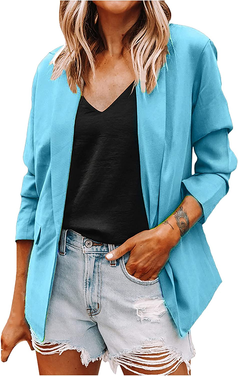 Womens Blazers Plus Size Solid Color Casual Office Work Jacket One Button Fall Thin Clothes Comfy Suit with Pockets