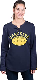 Icer Brands NFL Los Angeles Chargers Women's Fleece Sweatshirt Lace Long Sleeve Shirt, Large, Navy