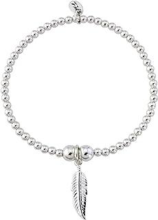 9149fe45c Trink Brand Angel Feather Sterling Silver Beaded Charm Bracelet