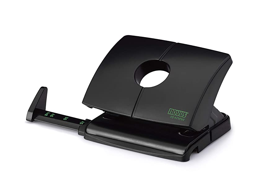 Novus B 216 re+New Hole Punch Plastic Upper Part Made from Sustainable Recycled 16 Sheets with Stop Rail Black